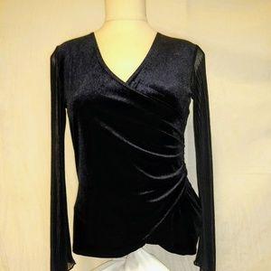 Maria Gabrielle Surplice Black Velvet Top Size S